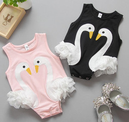 Wholesale Baby Animal Bodysuits - 2017 Summer New Born Baby Rompers Baby Girls Swan Lace Romper Kids Bodysuits Baby Cotton Clothes Climb B4611