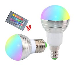 Wholesale green led bulb e14 - New Arrival 5W RGB LED Lights Memory Color E27 Led Bulbs For Xmas KTV Party Lighting AC 85-265V + IR Remote Control