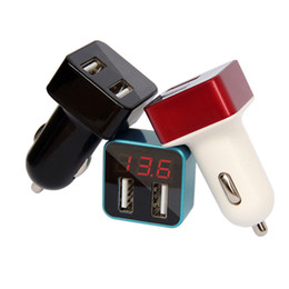 Wholesale Multifunctional Usb Adapter - High-End Voltage Tester 2 Port Dual USB Car Charger Adapter Mobile Phone Charger Voltage Double USB Detection Multifunctional Car Charging