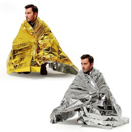 Wholesale Military Emergency Blanket - Outdoor Water Proof Emergency Survival Rescue Blanket Foil Thermal Space First Aid Sliver Rescue Curtain Military Blanket OOA2168