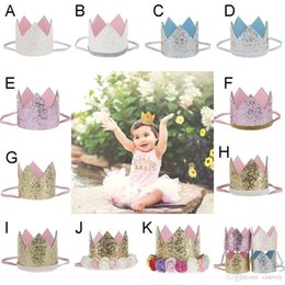 Wholesale Elastic Band Crown - Baby Girls Birthday Party Headbands Crown Band Princess Elastic Headwear Children Adult Glitter Photography Props Hair Accessories KHA478