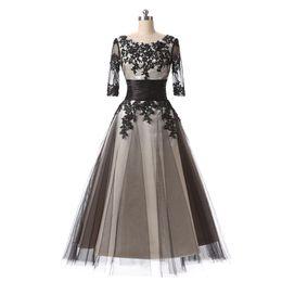 Canada Robes de bal courtes 2017 pas cher manches demi-dentelle appliques thé longueur robe de soirée cocktail Champagne noir robes formelles de robe Offre