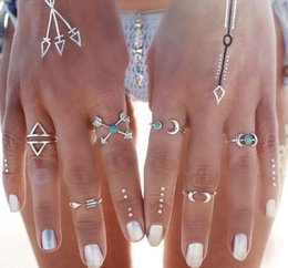 Wholesale Moon Band Rings - Bohemian Style 6pcs Pck Vintage Anti Silver Color Rings Arrows Moon Lucky Rings Set for Women Party Free Shipping