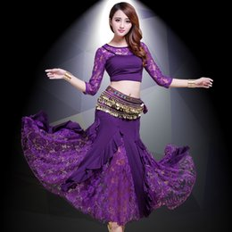 Wholesale Bollywood Top - 2017 New Belly Dance Costumes Belly Dancing Skirt Bollywood Practice Permance Stage Wear Top, Belt, Skirt 8 Colors for chosen