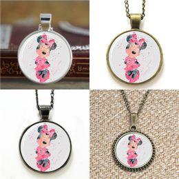 Wholesale Minnie Earring - 10pcs Minnie Mouse Art Print Glass Photo Necklace keyring bookmark cufflink earring bracelet