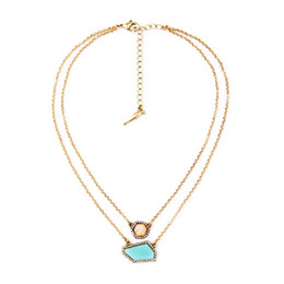 Wholesale Gold Chain Link Costume Necklace - Fashion Wholesale Costume Jewelry Gold Plated Alloy Double Layer Irregular Gemstone and Rhinestone Charm Pendant Necklace for Women