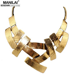 Wholesale Snake Bib Cross Necklace - MANILAI Vintage Bib Choker Necklace Women Cross Metal Pendant Snake Chain Maxi Collar Statement Jewelry Fashion Accessories