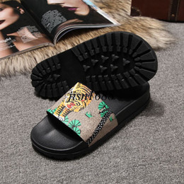 Wholesale Thick Heeled Heels Green - 2017 mens summer outdoor beach slide sandals boys fashion causal slide slippers with thick feetbed size eu38-45