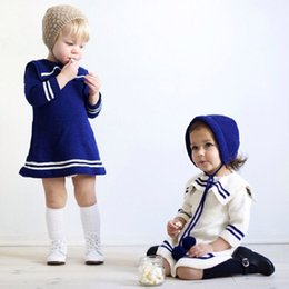 Wholesale Baby Fall Cloth - Girls Children Spring Fall Striped Sweater Wool Dresses for Baby Toddlers Kids Cotton Navy Warm Dress Sweaters Cloth Wear Dresses Clothing