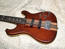 Wholesale One Piece Basses - New Arrival 5 Strings Brown Electric Bass ONE Piece Neck High Quality Guitars Free Shipping