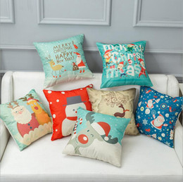 Wholesale Office Sofa Designs - Christmas Cushion Cover Linen Sofa Pillow Case Marry Christmas Cushion Covers Office Car Pillow Cover Xmas Decor 25 Designs YW228