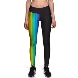 Wholesale Colorful High Waist Pants - New 0091 Sexy Girl GYM Fitness Yoga Pants Colorful stripe Rainbow Prints High Waist Stretch Running Sport Women Leggings Plus Size