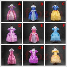 Wholesale Short Dress Sleeping - Belle princess dress girl purple rapunzel dress Sleeping beauty princess aurora flare sleeve dress for party birthday in stock free ship