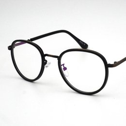 Wholesale Unisex Large Retro Frame - Fashionable Retro Large Round Glass Frame TR Metal Leg Artistic Spectacle Frame Suitable For Small Face