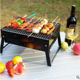 Wholesale Bbq Grill Stove - 1pcs BBQ Grills Outdoor Household BBQ Portable Black Steel Stove Outdoor Barbecue Grill Camping Iron Wood Charcoal Stoves 462