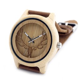 Wholesale Deer Oval - Watches Quartz Wristwatches 2016 Deer Head Hollow Out Technology Bamboo Wood Casual Watch Genuine Leather Strap Quartz Watch With Gift Box
