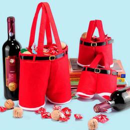Bolsas de doces de calças de santa on-line-Free DHL Santa pants Style Natal Candy Bags Bolsa de presente de Natal Decoracion Navidad Festive Wedding Supplies Santas Pants Style