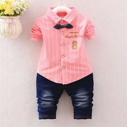 Wholesale Infant Baby Wear - Toddler Baby Boy Formal Clothing Wear Fashion Set 2017 Newest Handsome Boys Clothes Shirt + pants 2 sets Suit Children's Infant Clothings