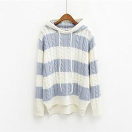 Wholesale Kawaii Knitting - Wholesale- 2016 women autumn winter korean style kawaii coats harajuku sweaters retro cute pink hooded pullover sweater female coat