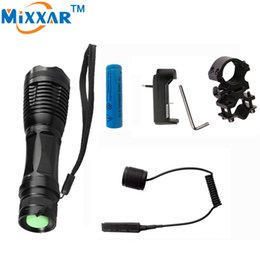 Wholesale Cold Gun - CREE XM-L T6 LED tactical Flashlight 4000LM Lantern Linterna Light Hunting Flash Light with Charger Gun Mount