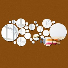 Wholesale Wall Paper Mirror - DIY 28pcs set Round Circles Wall Mirror PS Acrylic Mirrored Decorative Wall stickers 3D Mural Home Decoration Wall Art Paper