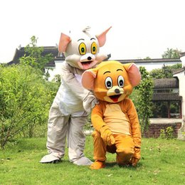 Wholesale Mouse Jerry Costume - 2017 hot sale Tom Cat and Jerry Mouse Mascot costume Fancy Dress Outfit Chirstmas Adult Size Cartoon Costume