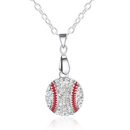Wholesale Baseball Rhinestone Jewelry Necklaces - Baseball Pendant Necklaces Hot Sale Silver Chain Necklaces Crystal Pendants For Women Girl Party Gift Fashion Jewelry Wholesale - 0636LDN