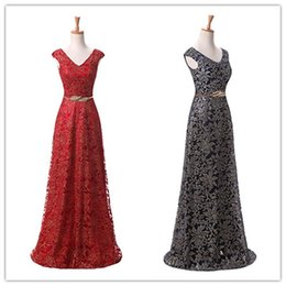 Wholesale Lining Shirt Prices - 2018 Prom Dresses A-line V-Neck Long Back Red Lace Sleeveless Prom Gown Evening Dresses Evening Gown Cheap Price
