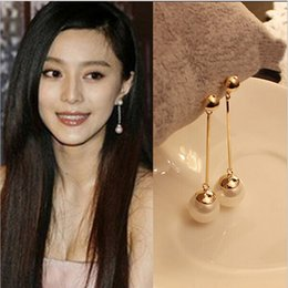 Wholesale Fashion Jewelry Stud Earrings - Korean jewelry gold plated pendants temperament earrings long exaggerated fashion earrings earrings factory direct