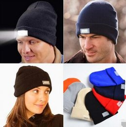 Wholesale Womens Running Hats Black - Hot led knitted beanie hat for men womens winter warm 5 lights LED glowing knitting caps Angling Hunting Camping Running glow hat 10 colors