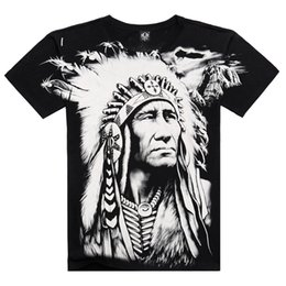 Wholesale Indian Men Wear - Wholesale- Cool 3D Printed On Shoulder Shirt, XXXL Casual Men's Wear Indian Feather T Shirt Famous Brand New 2015 Arrival Creative Summer