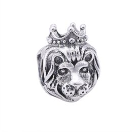 Wholesale vintage crown jewelry - Lion Charms Kings Of The Jungle Fairytale Crown Charms Vintage 925 Sterling-Silver-Jewelry Animal Bead For Diy Jewelry Making HB263
