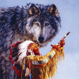 Wholesale People Wall Art - DIY Diamond Painting Embroidery 5D Wolf People Pattern Cross Stitch Crystal Square Unfinish Home Bedroom Wall Art Decor Craft Gift