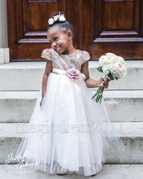 Wholesale Little Girl Lace Rose Dress - New Arrival Rose Gold Sequins Flower Girl Dresses 2016 A-Line Jewel Short Sleeves Flowes Floor-Length Cheap Little Girls Pageant Dresses