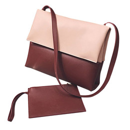 Wholesale Shoulder Strap Bag Leather - New Composite Bag Leather PU Shoulder Bag Straps Clutch Phone Purse Hasp Bolsa Feminina Bag Patchwork Women Messenger Bags Set