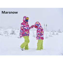 Wholesale Boys Suit Size Red - Wholesale- Marsnow Brand -30 Degree Children Hooded Warm Sport Ski Suits Kids Set Waterproof Windproof Boys Girls Snowboard Jackets Pants
