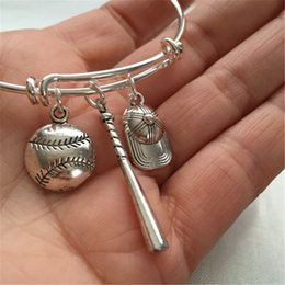 Wholesale Christmas Baseball Caps - 12pcs Baseball Bracelet with baAt, baseball softball and baseball cap charms silver tone bangles
