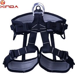Wholesale rock equipment - Wholesale-XINDA Outdoor Hiking Rock Climbing Half Body Waist Support Safety Belt Harness Aerial Equipment Rappelling Safety Belt