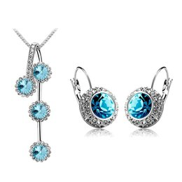 Wholesale Coloured Wedding Jewelry Sets - (5 Colour) Fashion Woman Jewelry Sets of Rhinestone Silver Gold Plated Round Crystal Necklace And Earrings Set