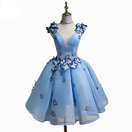 Wholesale Back Butterfly Dress - SSYFashion 2017 Sky Blue Cocktail Dresses Deep V-neck Appliques Sleeveless Backless Short Butterfly Party Formal Ball Gowns Custom Made