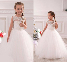 Wholesale White Graduation Full Length Dresses - 2017 White Organza Ball Gown Flower Girls Dresses Applique Lace Scalloped Neck Full Length Princess Kids Gowns For Wedding
