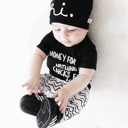 Wholesale New Wave Clothing - INS infant outfits 2017 new summer baby boys cotton letters short sleeve T-shirt+wave pants 2pcs sets toddler kids cute clothes C0336