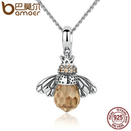 Wholesale Silver 925 Bee - BAMOER 925 Sterling Silver Lovely Orange Bee Animal Pendants Necklace for Women Fine Jewelry CC035
