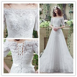 Wholesale Dress Instock - Off Shoulder Lace A-Line Wedding Dresses Appliques Lace Short Sleeves Sashes Sleeveless Sweep Train Lace up Cheap Bridal Gown Instock 33280