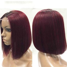 Wholesale Human Red Lace Wig - Fashion ombre Short bob wig straight lace front wig 99j dark root red human hair full lace wigs baby hair