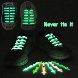 Wholesale Silicone Led Light Set - No Tie Shoelaces Luminous LED Shoe Laces Elastic Silicone Sneakers Fit Strap Light Up Glow Stick Strap Shoelaces 12pcs set OOA2418