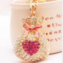 Wholesale Novelty Purses Bags - New Fashion Lovely Purse Shaped Rhinestone Keychain Bag Metal Key Ring Car Keychains Novelty Trinket free shipping
