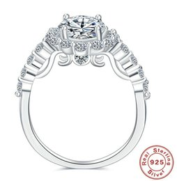 Wholesale Real Solid Gold Wedding Ring - YINHED Real Solid 925 Sterling Silver Engagement Ring 3 Carat Cubic Zirconia CZ Wedding Rings for Women Jewelry