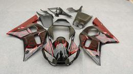 Wholesale Black 99 R6 Fairing Kit - Motorcycle Fairing kit for YAMAHA YZFR6 1998 2002 YZF R6 YZF600 98 99 00 01 02 Red flames black Fairings kit+7 gifts YM90