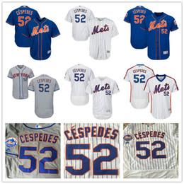 Wholesale Grey Pinstripe - New York Mets #52 Yoenis Cespedes White Pinstripe Pull Down Blue Gray Camo NY MLB Baseball Jerseys Sale Top Quality